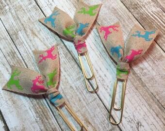 Colorful Reindeer - Flag Planner Clips / Bookmarks