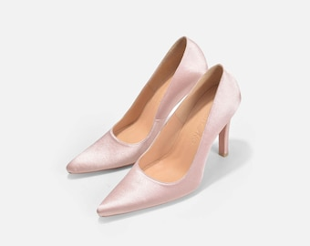 Pointy Toe Pumps, Nude Wedding Shoes, Nude Pointy Toe Bridal Heels, Satin Wedding Shoes