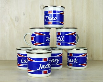 Personalised Union Jack Enamel Mug
