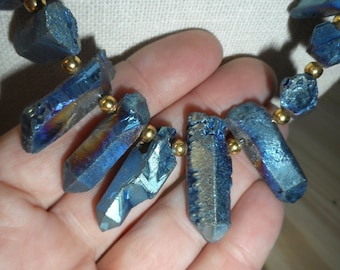 11 Point Titanium Necklace, Handmade Healing Necklace, Aura Crystal Necklace, see pics