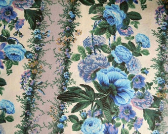 Antique French blue floral upholstery fabric Boussac Romanex, blue cottage chic fabric