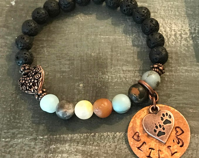 Rainbow Bridge Memorial pet loss Chakra moonstone  bracelet copper personalized