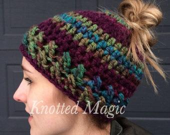 Textured Messy Bun Hat Pattern, Crochet PDF, Ponytail Hat Pattern
