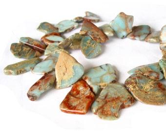 "15"" 20mm 30mm Aqua Terra Jasper Seafoam Blue slab focal freeform nugget gemstone Beads - snakeskin - Impression Jasper - Half / Full strand"