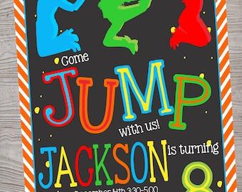 Jump trampoline park birthday party invitation. printable. digital download