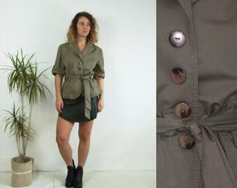 90's vintage women's army green sahara summer jacket/ waist belted short sleeve shirt jacket