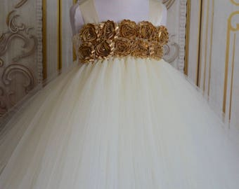 SALE!!  many colors available-Gold and ivory shabby chic flower girl tutu dress