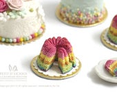 Spring Rainbow Kouglof / Pound Cake Cake- CUT off with TWO slice- in 1/12th miniature dollhouse Cake
