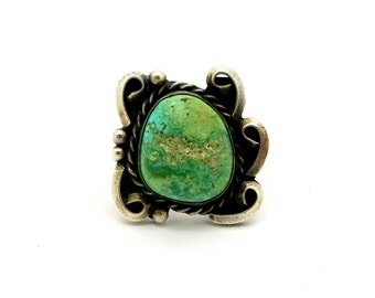 Vintage Navajo STERLING TURQUOISE RING Sterling Silver Native American Green Turquoise Ring Sz. 5.75