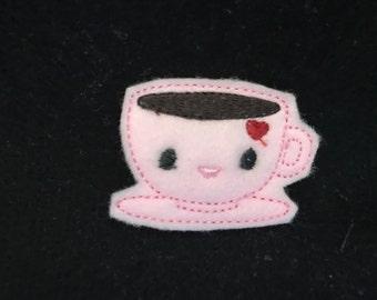 UNCUT Heart Coffee Cup feltie