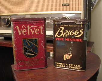 Two Vintage Tobacco Tins, Tobacciana-Upcycle-WIN!