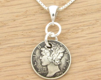 For 75th: 1942 Antiqued US Dime Necklace 75th Birthday Gift Coin Jewelry