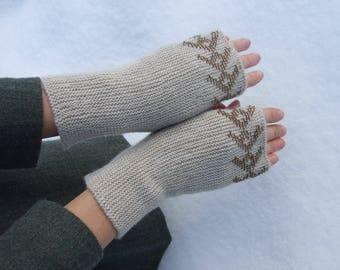 SALE: beaded wrist warmers,fingerless gloves, fingerless mittens. Knitted of beige soft Italian MERINO wool with true glass beads. HANDMADE.