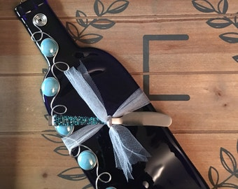Wine Bottle Cheese Tray, Slumped Wine Bottle, Melted Wine Bottle, Riesling Wine Bottle with Beaded Spreader.