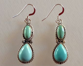 Navajo Turquoise Sterling Silver Native American Dangle Earrings