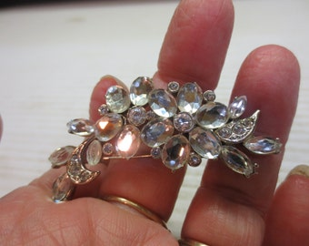 Beautiful Silver Tone Brooch With Sparkling Rhinestones By Monet