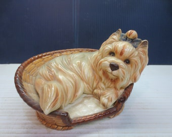 Precious Yorkie Laying In Dog Bed Figurine With Ribbon In Hair