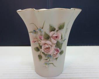 Vintage Lefton Bone China Bisque Vase - Hand Painted