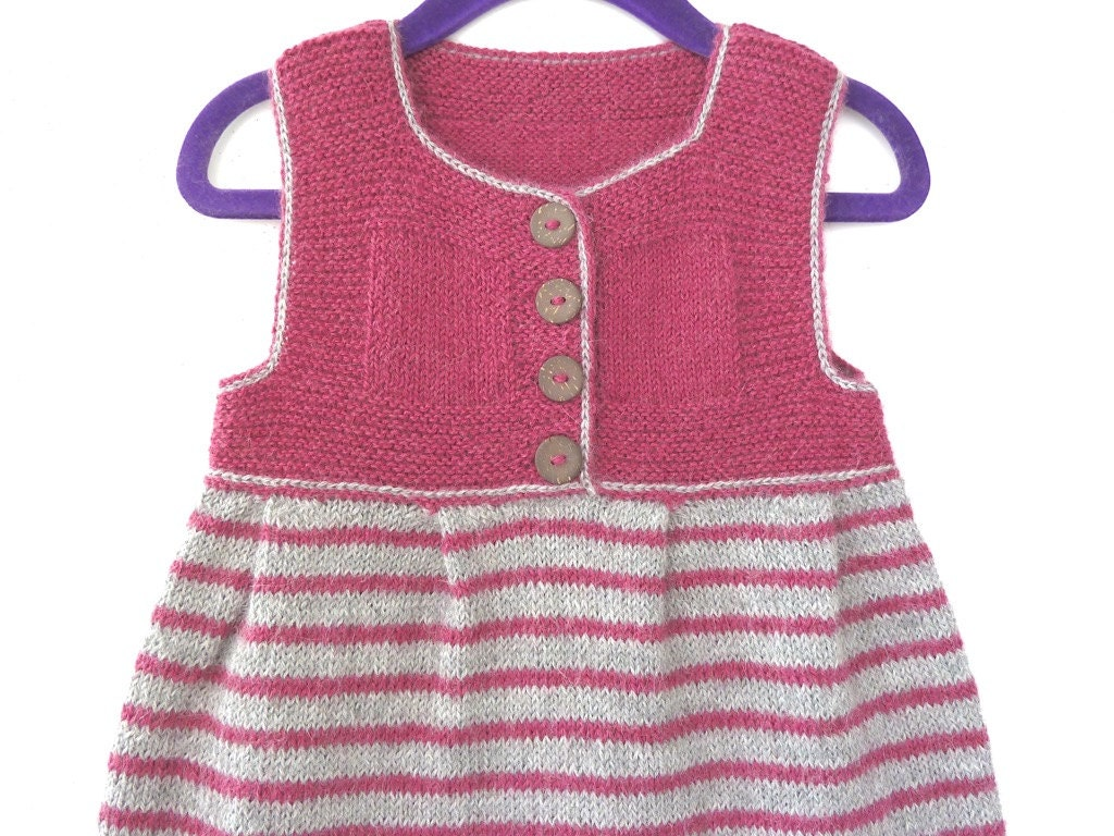 Hand knitted baby clothes girl baby dress knit baby sweater