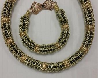 African Nigerian Traditional Engagement Bridal Bridesmaid Black & Gold mesh Jewellery Set