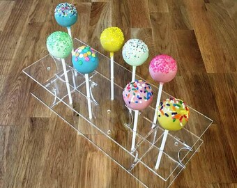 "Rectangle Clear Gloss Acrylic Cake Pop Stands - 31x13cm - 8.5""x5"" (12 cakepops) or 45x16cm 17.5""x 6"" - (36 cakepops)"