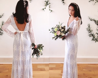 CLAUDIA - soft blue with lace boho wedding dress with long sleeves - gypsy - bohemian - woodlands wedding - bridal gown - backless