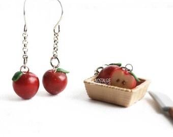Apple Earrings, dark red apple, apple jewelry, red apple earrings, red earrings, summer earrings, best friend jewelry, best friend gift
