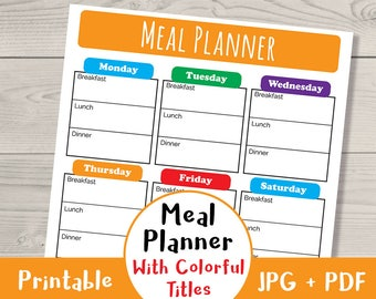 Weekly Meal Planner Printable- Colorful Titles, Weekly Menu Planner, Weekly Meal Schedule, Meal Planner PDF, Meal Planning, Weekly Menu