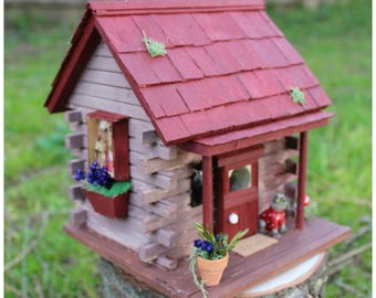 Log cabin/bird house/Miniature house. decorations ornamets. Red barn.