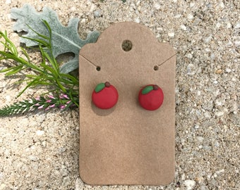 Polymer Clay - Polymer Clay Red Apples Stud Earrings - Red Apple Earrings