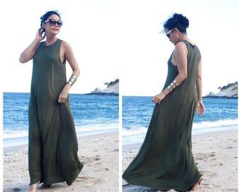 Green long maxi dress free size