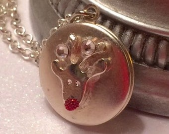 Reindeer Christmas Locket-silver locket/ small locket/ silver Chain-send your Love-Teen Gift -Girl Gift-friend gift
