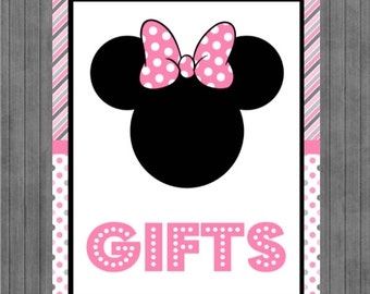 ON SALE!!  Mouse Birthday Sign, Gift Sign, Pink