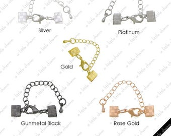 Silver Brass Ribbon Crimp, Lobster Claw Clasp and Extension Chain + Drop