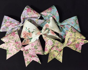 3in. Glitter Vintage Floral Cheer Bow