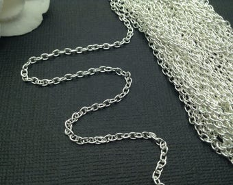 Chain / Silver Chain / Silver Plated Cable Chain / Jewelry Cable Chain / Jewelry Chain 2x3 mm 32 feet