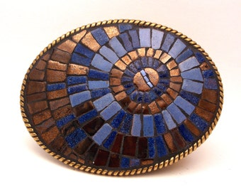 Mosaic belt buckle -- Blue and Copper Concentric Circles