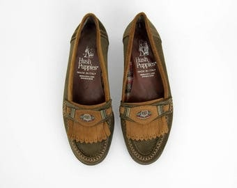 Vintage Shoes // Hush Puppies Fringe Loafer Flats // Suede Leather Slip Ons