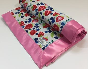 Fresh Fruit Minky Baby Blanket - Toddler Blankie - Baby Shower Gift - Security Blanket - Stroller Blanket - Minky Blanket - Strawberry Baby