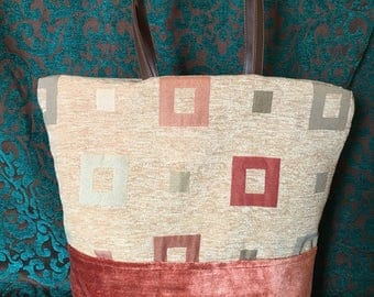 Coral and tan bag with squares