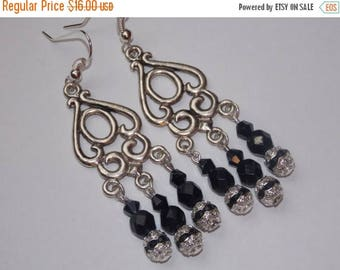 15%OFF Black Crystal Chandelier Earrings