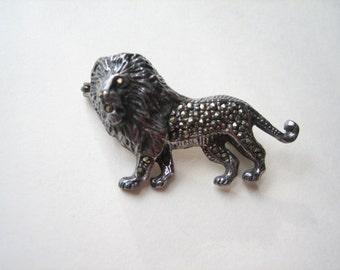 Vintage sterling silver marcasite lion brooch, marcasite LEO pin, sterling silver lion, sterling silver Leo, Leo the lion pin