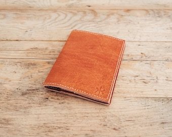 MENS LEATHER credit card holder // Brown Bifold wallet // Mens leather wallet card holder // Card case wallet // Leather card holders NATURE