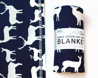 "ORGANIC BLANKET. 36""x36"" light-weight knit baby blanket in navy blue elk print. Travel blanket. Swaddler."