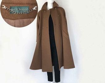 The Boutique Brown 80s Vintage Swing Coat Pure Wool Heavy Winter Coat Womens Minimalist Outerwear S, M Jacket