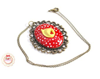 Necklace Nutella Chocolate Kawaii-Jewelry Miniature Food-Cameo Bronze