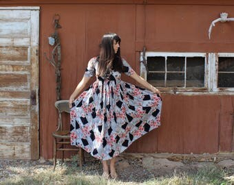 Vintage black floral maxi dress // flowy vintage dress // babydoll dress
