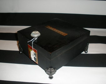 Pura Sangre Black Cigar Box Valet, Watch Box, Stash Box, Gun Box, Jewelry Box, Tampa, Authentic