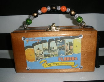 Vintage Orlando Postcard Cigar Box Purse Wooden, Authentic