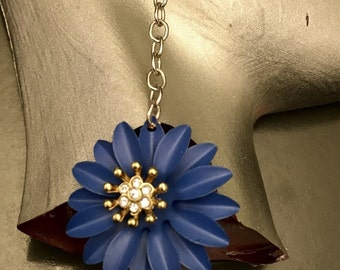 Blue Flowers with a Little Bling Earrings/Artsy Flower Earrings/Blue Flower Earrings
